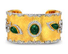 Victor Velyan bracelet with emeralds and diamonds in 24k