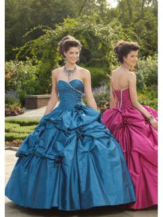 Taffeta Strapless Sweetheart Beaded Bodice Quince Dress