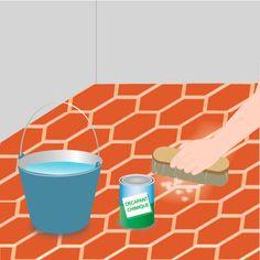 Décapez des tomettes encrassées par du ciment ou du plâtre