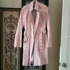 Marc Jacobs trench coat Adorable pink pleated trench coat by Marc Jacobs. Has black pinstripe lining inside. Pink buttoned belt loops and pockets. Actual coat fabric has little pinstriped detail. Great coat no marks or tears! Marc Jacobs Jackets & Coats