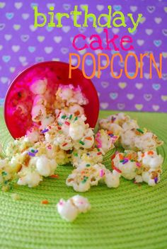About 6 cups popped popcorn (I bought a bag of natural, pre-popped popcorn at Trader Joe's and used this but you can pop your own)  Half bag white chocolate bark/candy melts  1/4 cup rainbow sprinkles  About 2 cups Funfetti ca