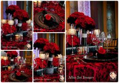Red and Black Weddings, Lee James Floral, A Chair Affair Chargers, Chair Affair Chiavari Chairs, Over the Top Linens