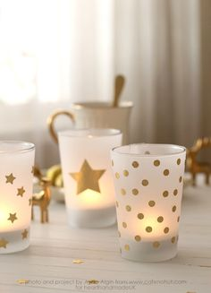 The Craft Cafe Gold Votive Holder Tutorial - Heart Handmade uk Christmas Candle, Noel Christmas, Christmas Crafts, Christmas Ideas, Christmas Design, White Christmas, Cafe Gold, Diy Candle Holders, Votive Candles
