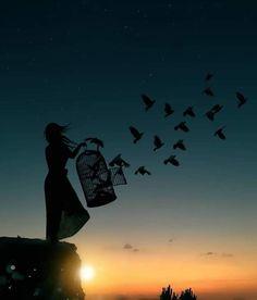 """""""Ein Himmel in der Brust bringt ständig die Toten zur Welt. … – """"A sky in the chest is constantly giving birth to the dead. Silhouette Photography, Silhouette Art, Silhouette Fotografie, Creative Photography, Nature Photography, Digital Art Photography, Collage Foto, Photo Collages, Nature Collage"""