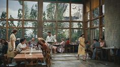 beautiful windows in the cafeteria of a community parks building near Mount Rushmore from the movie North By Northwest starring Cary Grant. -m
