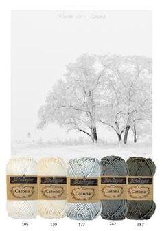 Kleurinspiratie ~ Winter wit. Rustig kleurenpalet. Catona katoen van Scheepjeswol. Off white - Grijstinten. Voor het haken of breien van woonaccessoires