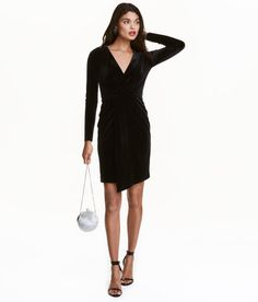 Check this out! Long-sleeved dress in velour with a V-neck, sewn-in wrapover at the front and an elasticated seam at the waist. Jersey lining. - Visit hm.com to see more.