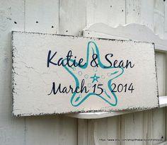 COASTAL - Beach WEDDING SIGN w/ Names and Date / - Starfish - Shabby Cottage Vintage Style 24 x 12 on Etsy, $54.95