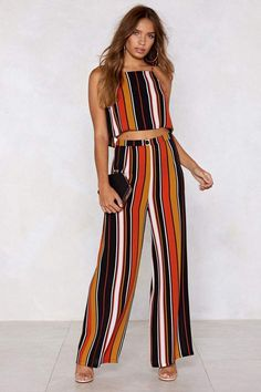 Nasty Gal Your Line to Shine Striped Crop Top and Pants Jumpsuits For Women, Blouses For Women, Pants For Women, Ladies Blouses, Men's Casual Fashion Tips, Fashion Outfits, Classy Outfits, Casual Outfits, Pantalon Large