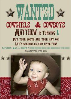 Kara's Party Ideas Vintage Cowboy First Birthday Party Planning . Cowboy First Birthday, Rodeo Birthday, 1st Boy Birthday, Boy Birthday Parties, Baseball Birthday, Birthday Ideas, Cowboy Party Invitations, Cowboy Theme Party, Twins 1st Birthdays