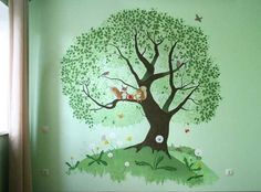 green wall painting with tree