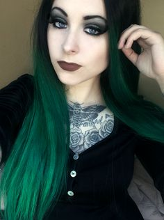 Dye used was Arctic Fox color Phantom Green Hair was originally black up top and neon light green. http://noxincola.tumblr.com/