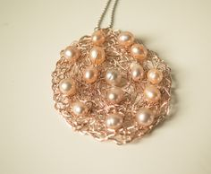 Pendant Necklace featured crocheted wire, pearls (fresh water)