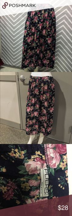 Pliers Ltd. Vintage Floral Maxi skirt Vintage Navy blue floral skirt 32 in. length and 30 in. waist Skirts Maxi