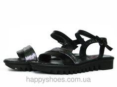 """Черные кожаные босоножки на тракторной подошве: продажа, цена в Запорожье. босоножки и сабо женские от """"HappyShoes"""" - 270720778"""
