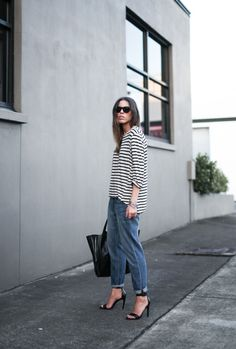 stripes, denim and heels