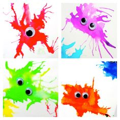 That's So Cuegly: Monster Straw Painting. I'd have kids add their own details rather than use googly eyes. Preschool Crafts, Fun Crafts, Crafts For Kids, Arts And Crafts, Fete Halloween, Halloween Crafts, Monster Crafts, Business For Kids, Business School