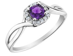 Amethyst Ring with Diamonds in 10K White Gold