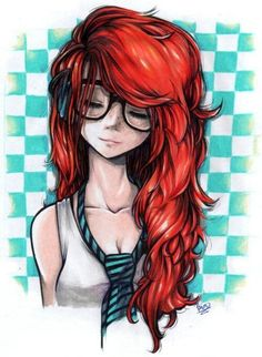 Redhead with glasses ...