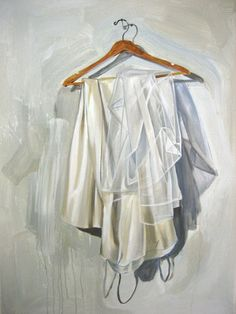 "Donald Bradford ""Gown"" oil and acrylic on canvas 48 x 36 inches  More work available at Andrea Schwartz Galllery, San Francisco www.asgallery.com  wedding dress, painting, bride"
