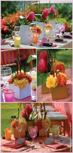 Orange, Pink and/or Yellow OR Sunset Theme Centerpieces :  beach centerpiece feathers orange pink reception sunset yellow Sunset