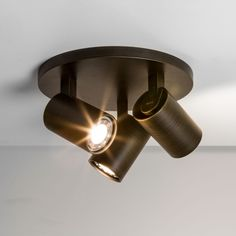 Modern round 3 spotlight ceiling Plate - bronze and white.