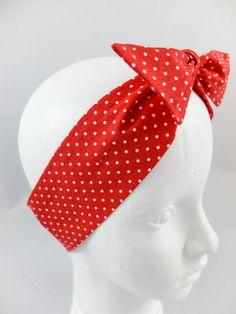 Czerwona opaska pin-up girl w białe kropeczki - jousi_look - Opaski do włosów