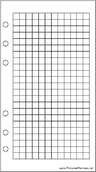 This daily planner page of grid or graph paper goes on the right-hand side of your personal sized datebook. It is oriented vertically. Free to download and print