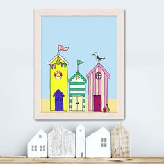 Beach hut print - Beach Huts 1 - beach hut art for boys room decor kids wall print Bathroom wall art bathroom print seaside beach art ocean