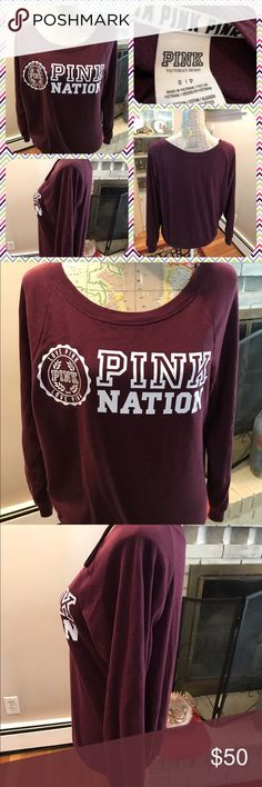 Like New Pink Nation Crew Neck Sweatshirt Like new Pink Victoria's Secret Pink Nation maroon colored long sleeve crew neck sweatshirt.  Size small.  PINK NATION in white letters w/ a Love Pink emblem in white also.  No trades. PINK Victoria's Secret Tops Sweatshirts & Hoodies