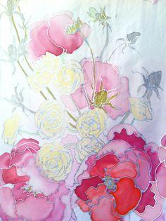 Mantón de seda, color rosa primavera ramo pintados a mano. Boda seda abrigo chal, mantón de seda blanco, pañuelos de seda Takuyo,   Pintado a mano la rosa primavera ramo blanco pañuelo de seda, pensando en el ramo de la boda hermosa.  La bufanda de seda rosa de primavera ramo blanco es complejo y sofisticado con dibujos plata hermosas e intrincadas de diseños de flores. Verdaderamente uno de una pieza de accesorio buena a su manera de vestir. Este pañuelo de seda es delicado, suave y ligera…