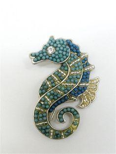 Seahorse brooch pin. Liz Claiborne. silver by JewelryOnVintageLane, $13.95