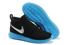 promo code f38b4 1fd49 Nike Roshe Run High Cut Mens Black Blue Shoes