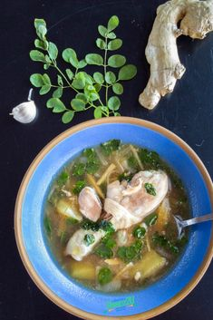 Chicken Tinola is a quick and easy soup toprepare. Its a staple of Filipino cuisine with plenty of regional variations. This version is loaded with garlic, ginger and moringa leaves. #soup #filipino #pinoy #chickensoup