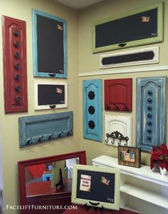 Repurposed & Upsytled! Coat & towel racks made from dresser drawer fronts, cabinet doors, and headboards! From Facelift Furniture's Repurposed Wall Pieces collection. on Facelift Furniture  http://www.faceliftfurniture.com/gallery/re-purposed-wall-pieces/nggallery/page/3