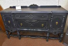 Black Cottage Chic Sideboard Buffet Server Cabinet. $450.00, via Etsy.