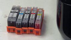 Como rellenar cartuchos recargables auto reseteables Pgi570 / Cli571 con...