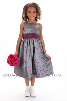 Flower Girl Dress Style 035 - Embroidered Taffeta Dress $49.99