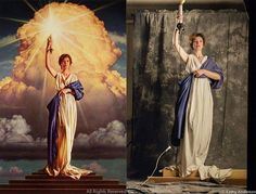 28 year old Jenny Joseph posing for Columbia Pictures logo, 1992. - 9GAG