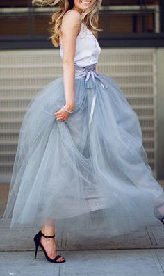 summer outfits Gorgeous Tulle Skirt + White Tank