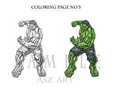Coloring Pages No3 Comic Hero Original Art  Printable by AszArt