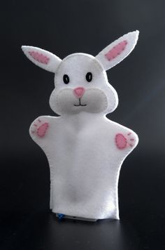 Bunny hand puppet - hand puppets, hand puppet, animal puppet, glove puppet Bunny puppet and his fish Glove Puppets, Felt Puppets, Puppets For Kids, Felt Finger Puppets, Puppet Toys, Animal Hand Puppets, Puppet Patterns, Doll Patterns, Puppet Making