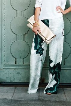 Green and white summer wide pants.
