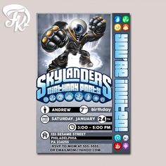 New Eyebrawl Skylanders Birthday Party Card Digital Invitation Kid Birthday…