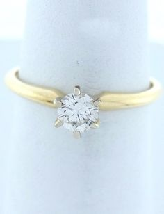 .33ct ROUND DIAMOND SOLITAIRE ENGAGEMENT WEDDING RING LADIES 14K YELLOW GOLD