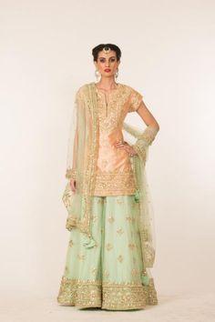 PEACH AND PISTA GREEN GOTA WORK SHARARA SET   Preeti S Kapoor
