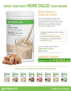 Herbalife News! NEW FLAVOR JOINS FORMULA 1 SHAKE FAMILY! For your orders: Call USA: +1214 329 0702 Italia: +39- 346 24 52 282 Deutschland: +49- 5233 70 93 696 Skype: sabrinaefabio
