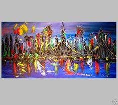 Original Painting  MANHATTAN VIEW SKYLINE  no reserve STRETCHED   BYOGU  | eBay Impressionist, Manhattan, Original Paintings, Skyline, Canada, Ebay, Art, Kunst, Art Education