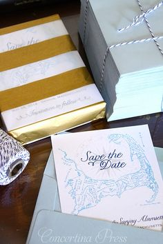 Concertina Press - Stationery and Invitations: Light Blue Cape Cod Wedding Save the Dates