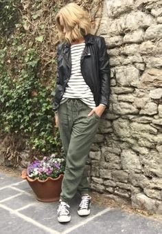 starting from scratch Denim Joggers Outfit, Denim Shirt Dress, Fashion Joggers, The Fashion Lift, Capsule Wardrobe, Wardrobe Basics, Olive Green Pants, Chic Outfits, Summer Outfits